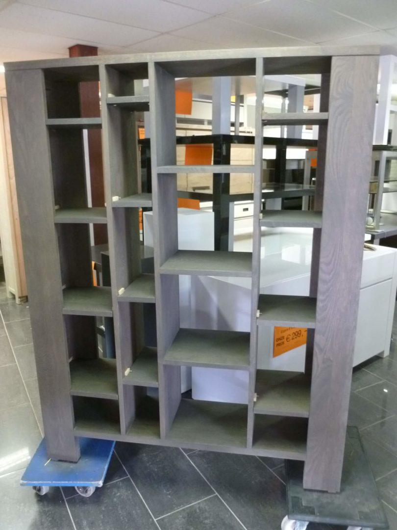 grijze massief eiken boekenkastroomdivider van 124cm breed