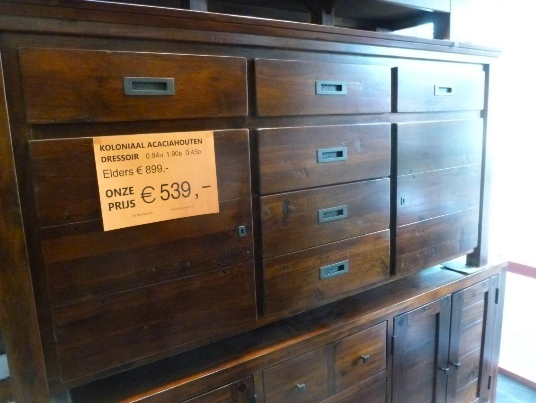 Ongebruikt Koloniaal acaciahouten dressoir van 190cm - De KortingKnaller B.V. YQ-46