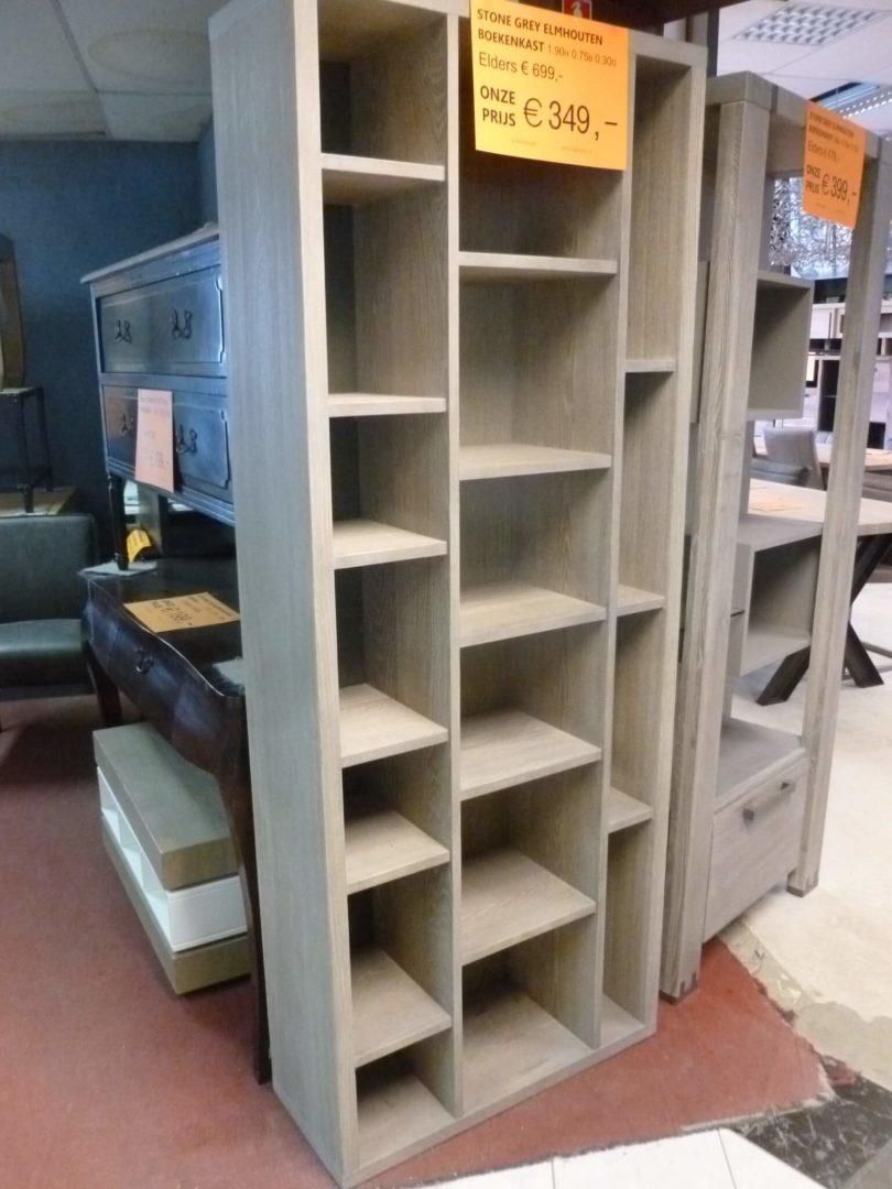 Stone grey elmhouten boekenkast van 75cm breed - De KortingKnaller B.V.