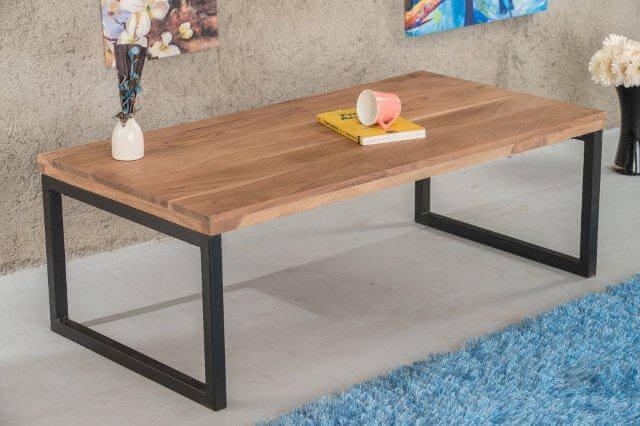 Wonderlijk Naturel gelakte acaciahouten salontafel met metalen poten - De FZ-15
